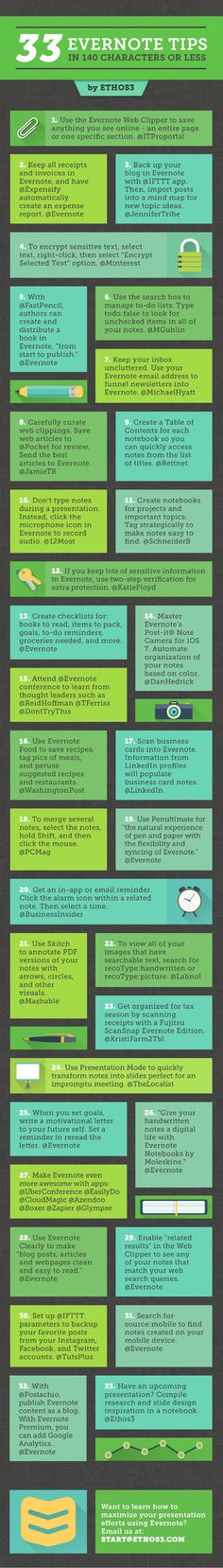 33 Evernote Tips, in 140 characters or less by Ethos3 | Presentation Design and Training via slideshare