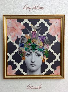 Fornasetti inspired original decoupage framed by Lorypalomi