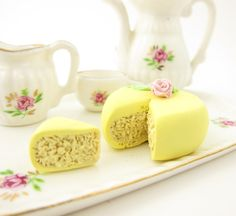 Polymer Clay Cake Yellow Miniature Dollhouse Cake Pink Flower - 1:12, 1 inch Scale.