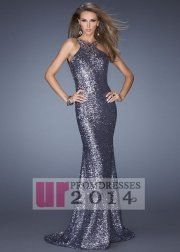 Sexy Grey Sequin Open Back Trailing Evening Gown 2014