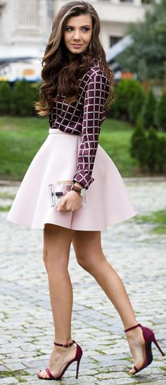 Pink Plain Pleated Loose Zipper Sweet Short Skirt