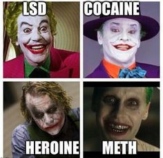 Jokers depiction informs us of each decades drug of choice. The comments are hilarious.