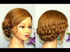 Braided updo, hairstyles for medium long hair. Прическа с плетением на длинные волосы. - YouTube