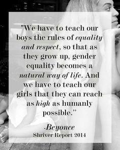 Equality, respect, girls, boys