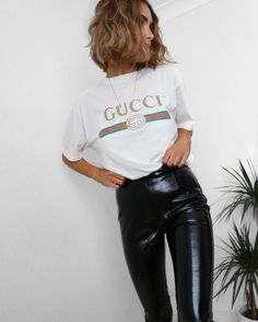 gucci t and leather pants