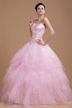 Delightful Unique Neckline Ball Gown Layered Pink Wedding Dress