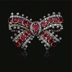 Ruby and diamond bow brooch, Mid 19th Century   lot   Sotheby's