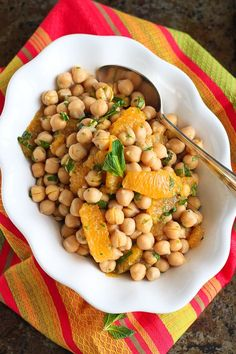 Citrus Chickpea Salad with Lemon Herb Dressing…Eat this healthy salad by itself or serve it over fresh spinach! 174 calories and 4 Weight Watcher SmartPoints