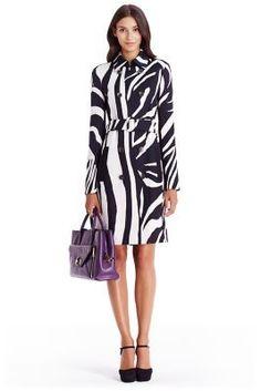 DVF Libby Zebra Trench Coat in zebra simple black