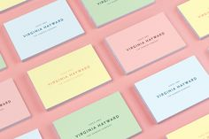 Pastel coloured business cards for hamper business Virginia Hayward designed by Salad. #pastels #businesscards #branding