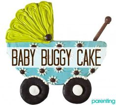 """Don't all moms-to-be dream about walking down their street with their baby napping peacefully in a pram? This adorable baby shower cake idea only uses one 9"""" round cake, and the blue and green colors provide an elegant contrast."""