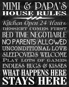 Printable Mimi and Papa's House Rules -Subway Art Wall Printable- You choose one size - 4x6, 5x5, 5x7, 8x8, 8x10, 10x13, 11x14, 12x12, 16x20. $8.00, via Etsy.