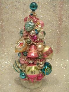 Ms Bingles Vintage Christmas: ~3 Bottle Brush Trees~!!! Bebe'!!! A Darling Bottle Brush Tree trimmed with Primitive Collectible Ornaments!!! Bebe'!!! A Tree Composed of Collectible Christmas Ornaments!!!
