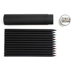 G2002 Black Color Pencil Set ($7.50) ❤ liked on Polyvore featuring home, home decor, office accessories, black pencils, ebony pencil, black colored pencils and writing pencils