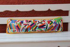 Rainbow color Lumbar Hand Embroidered Otomi Cushion by Mexico, Tenango, mexican wedding, textile, mexican suzani, suzani, embroidery, hand embroidered, otomi, www.casaotomi.com, otomi, table runner, fiber art, mexican, handmade, original, authetic, textile , mexico casa, mexican decor, mexican interior, frida, kahlo, mexican folk,  folk art, mexican house, mexican home, puebla collection, las flores, travel tote, boho, tote, handbag, purse, cushion, pillow, gift basket