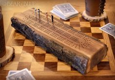 Cribbage Game Made of Solid Walnut Branch* with Metal Game Pieces; Each One is Handcrafted and Totally Unique Wooden Board Games, Wood Games, Game Boards, Cribbage Board Template, Metal Games, Game Pieces, Deck Of Cards, Metal Working, Craft Ideas