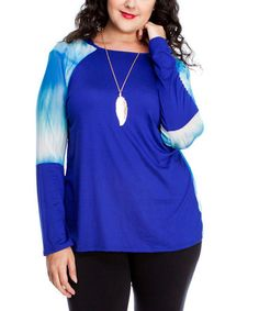 Look what I found on #zulily! Royal Blue & Light Blue Tie-Dye Hooded Top - Plus by Hug Plus #zulilyfinds