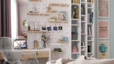 Girl bedroom, study area mixed with pegboarding shelves and bookcase Cute Desk, See World, Study Areas, Girls Bedroom, Shelving, Bookcase, Design, Home Decor, Shelves