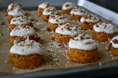 raw carrot cakes with cashew cream frosting