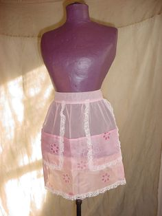 Vtg Sheer Pink Lacy 5 Pocket Maid Hostess Half Apron with Retro Flower Print
