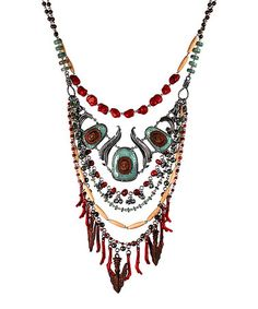Love this Coral & Turquoise Multi-Strand Bib Necklace on #zulily! #zulilyfinds