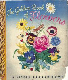 VINTAGE! 1940's Children's Little Golden Book~FLOWERS w/ Dust Jacket 1st Ed