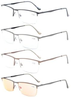 184e016f830a Eyekepper 4-Pack Quality Spring Hinges Half-Rim Reading Glasses Include  Computer Readers +2.5
