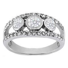 European Engagement Ring - 0.63 Carat Three Stone Round Diamond Bezel Split Band Engagement Ring - ER64