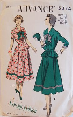Vintage 1940s Advance Misses' Juniors' Late era to early 50s peplum dress suit jacket skirt cotton been floral red bow tie front short sleeves full color illustration print ad fashion