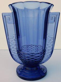 STUNNING ART DECO VAL SAINT ST LAMBERT GLASS VASE ~ ROMEO LUXVAL BELGIUM c 1930 picclick.com
