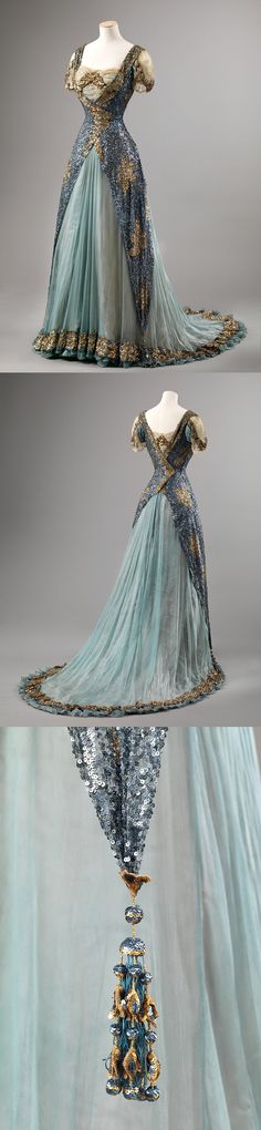Sequin and Chiffon Ball Gown, c.1905-10