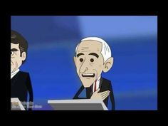 """They animated him! This is a still from """"Ron Paul Debates Rick Perry,"""" on YouTube (2 parts)."""