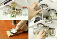Creative Storage- I want to try it with dried herbs in the kitchen, small change- paint lids same color as shelf