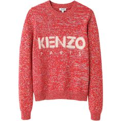Kenzo Logo Pullover ($309) ❤ liked on Polyvore featuring tops, sweaters, shirts, jumpers, long-sleeve crop tops, red crop top, slim fit long sleeve shirts, embroidered shirts and long-sleeve shirt