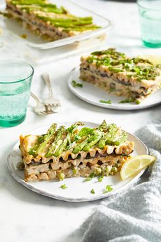 Go green with veggie-filled layers in this creamy vegan lasagna, which is chock-full of hearty, healthy ingredients that will leave you feeling more replenished with each bite. If you can't find thin asparagus spears, halve thicker spears lengthwise before placing them on top so that they can roast tender.