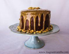 Vegan Dark Chocolate Cake with Peanut Butter Caramel by Fragrant Vanilla Cake