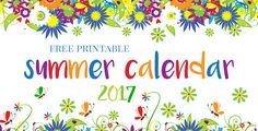 Summer Calendar 2017 and Bucket List Printable