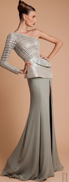 RANI ZAKHEM - It is all about slinky flowing skirts and structured tops. Love the style, would not wear this exact outfit though.