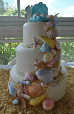 This cake makes me think of my sister Laura... she loves the ocean and is amazing at cake decorating