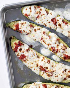 Stuffed Zucchini with Tomatoes and Mozzarella