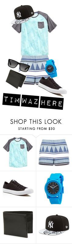 """""""TIM"""" by beau-ward ❤ liked on Polyvore featuring Univibe, BCBGMAXAZRIA, Converse, Rip Curl, John Varvatos * U.S.A., New Era, Ray-Ban, men's fashion and menswear"""