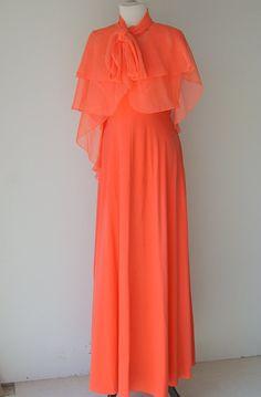 Vintage 1970s Coral Orange Goddess Maxi Dress by hipandvintage