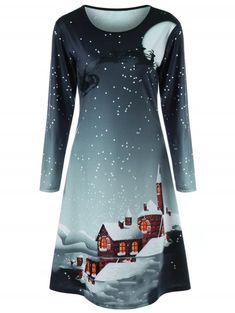 9cfb1ebd7 Christmas Plus Size Graphic Long Sleeve Tee Dress - GREEN GREY 2XL Moda  Para Mujer