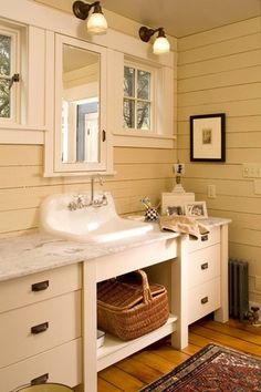 Country Full Bathroom with Glass panel, Restoration Hardare Gilmore Pull, Flush, Hardwood floors, European Cabinets
