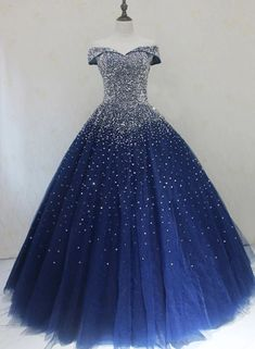 Royal Blue Sparkle Off Shoulder Ball Party Dress Handmade Beaded Party Dre. - Royal Blue Sparkle Off Shoulder Ball Party Dress Handmade Beaded Party Dress – ms – Source by elegantpinbaby Blue Ball Gowns, Ball Gowns Prom, Royal Ball Gowns, Tulle Ball Gown, Ball Gown Dresses, Party Gowns, Pretty Prom Dresses, Homecoming Dresses, Elegant Dresses