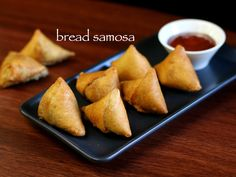 how to make bread samosa recipe, easy samosa with step by step photo/video. leftover sandwich bread slices, shaped to cone with aloo stuffing