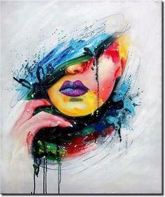 'Graffiti Woman' Beautiful Abstract Oil Painting Portrait- N.- 'Graffiti Woman' Beautiful Abstract Oil Painting Portrait- New Exclusive Edition Lips Painting, Oil Painting Abstract, Acrylic Painting Canvas, Painting Art, Graffiti Painting, Graffiti Art, Lilies Drawing, Tableau Pop Art, Art Visage