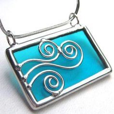 Spirals wave Stained glass pendant 847 by LingGlass on Etsy, $18.00