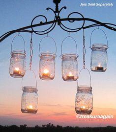 12 Hanging Garden Light DIY Mason Jar Lantern by treasureagain, $37.00