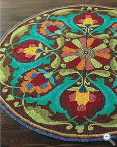Hooked Rug. Love the colors!